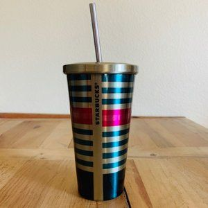 NEW Starbucks 16 oz Metal Tumbler Stripe Pink Teal